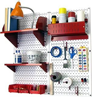product image for Wall Control 30-CC-200 WR Hobby Craft Pegboard Organizer Storage Kit with White Pegboard and Red Accessories