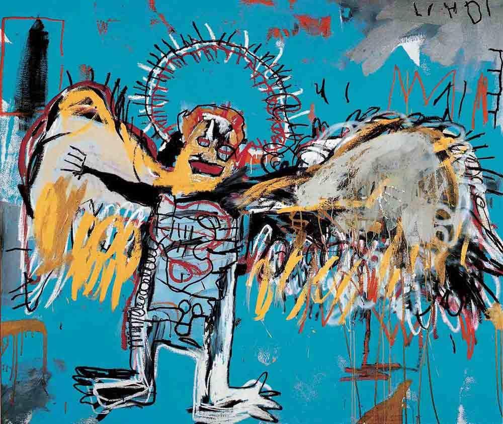 Jean michel basquiat fallen angel original graffiti art canvas paintings hand painted reproduction rolled 120x100 cm approx