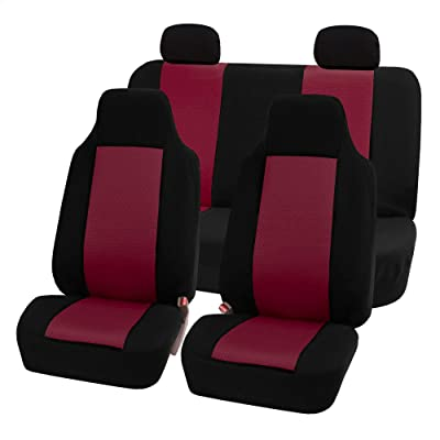 FH Group FB102BURGUNDY114-AVC FB102BURGUNDY114 Classic Full Set High Back Flat Cloth Seat Covers, Burgundy/Black-Fit Most Car, Truck, SUV, or Van: Automotive