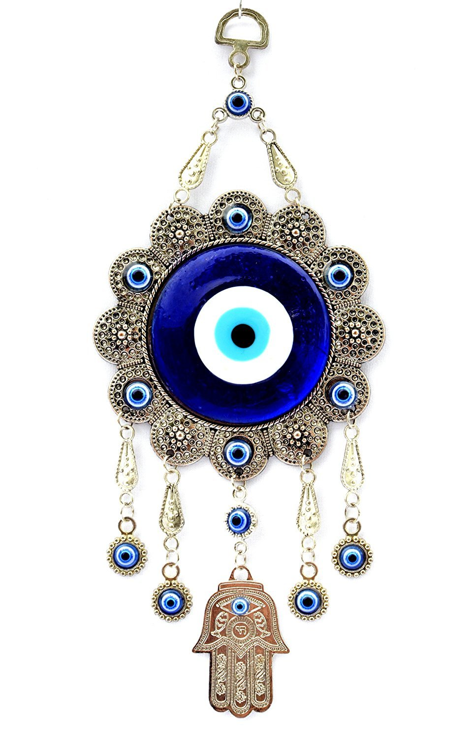 Luxury quality hand protects the blue evil eye of hanging ornament (蓝色)