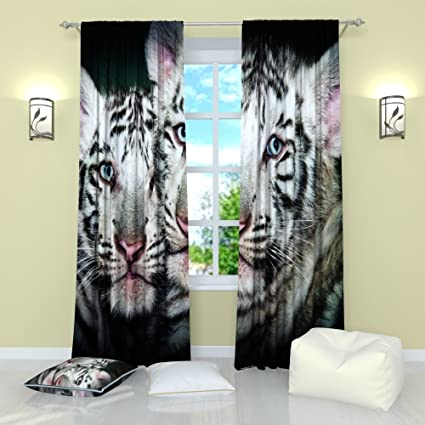 Amazon.com: Factory4me White Tigers Curtains Window Curtain Set of 2 ...
