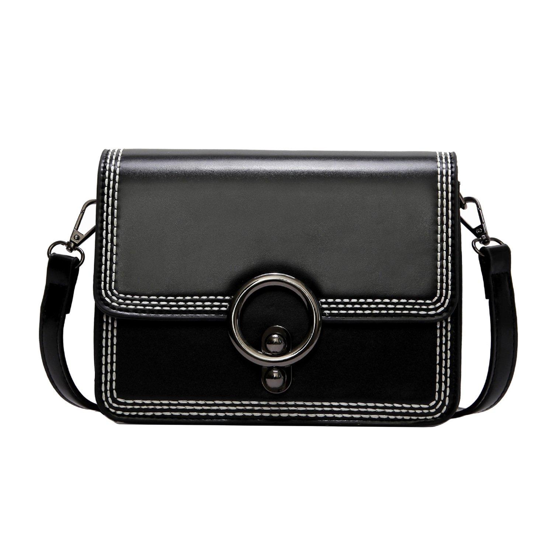 Women Leather Crossbody Bag,ACLULION Shoulder Bag Purses Messenger Bags for Traveling Black