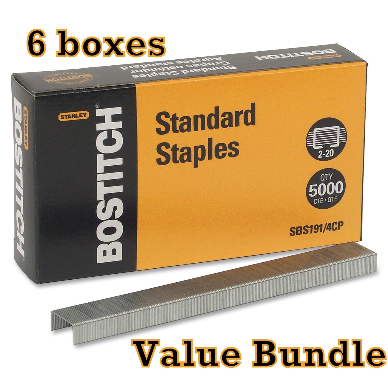 Value Pack of 6 Stanley Bostitch Premium Standard Staples, 1/4 Inch Silver, 5,000 per box (SBS191/4CP) by Business & School Supply