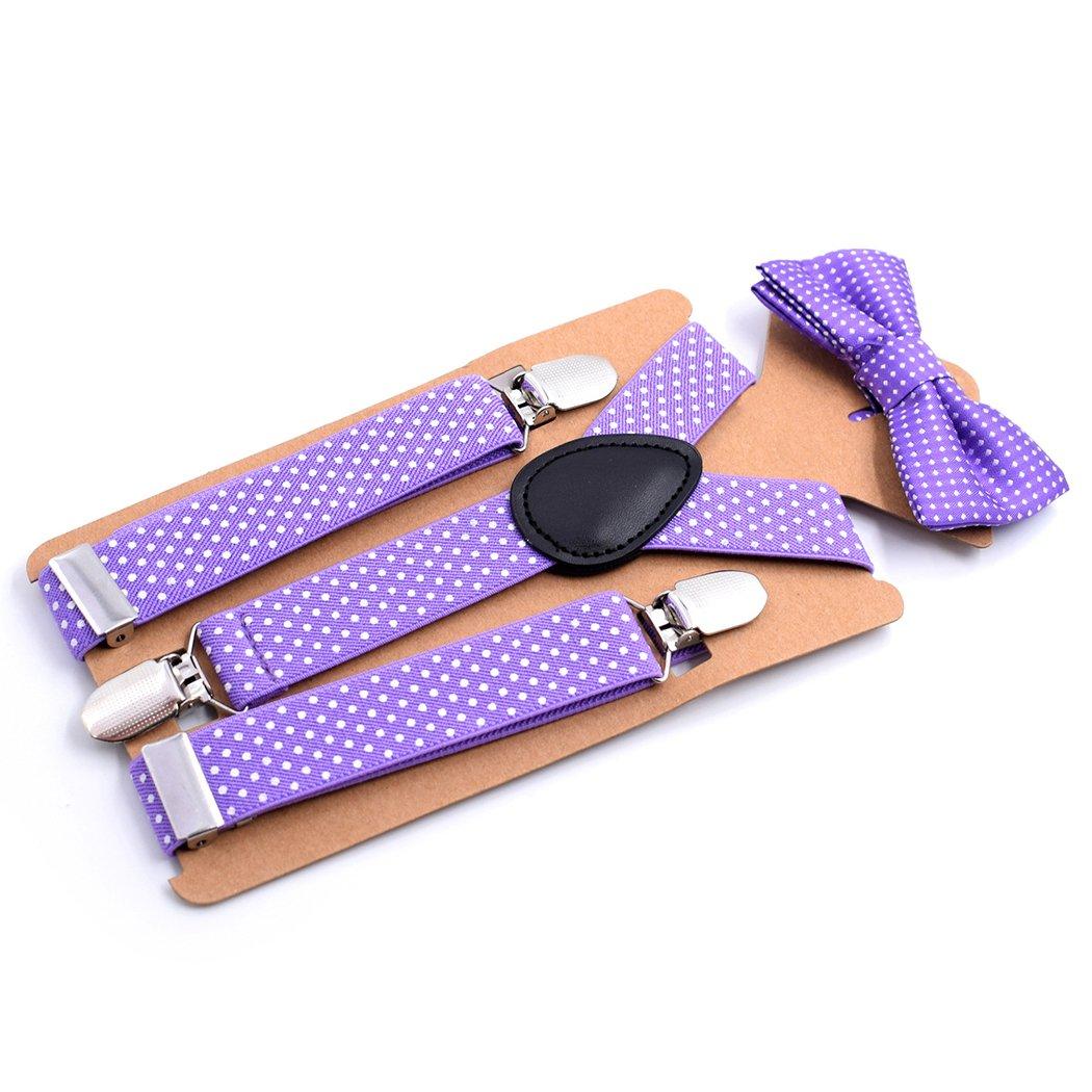 Fascigirl Suspender and Bowtie Set Fashionable Adjustable 3 Strong Clips Y Back Suspender Pants Brace for Kids