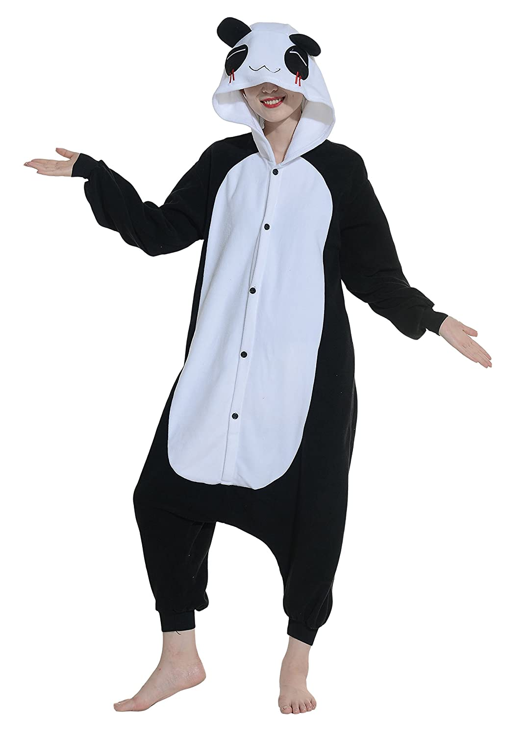 Fandecie Unisex Adult Pajamas Kigurumi Costume Anime Animal Cosplay Onesies Halloween Sleepwear Fancy Dress Panda Suitable for Height 160-175cm