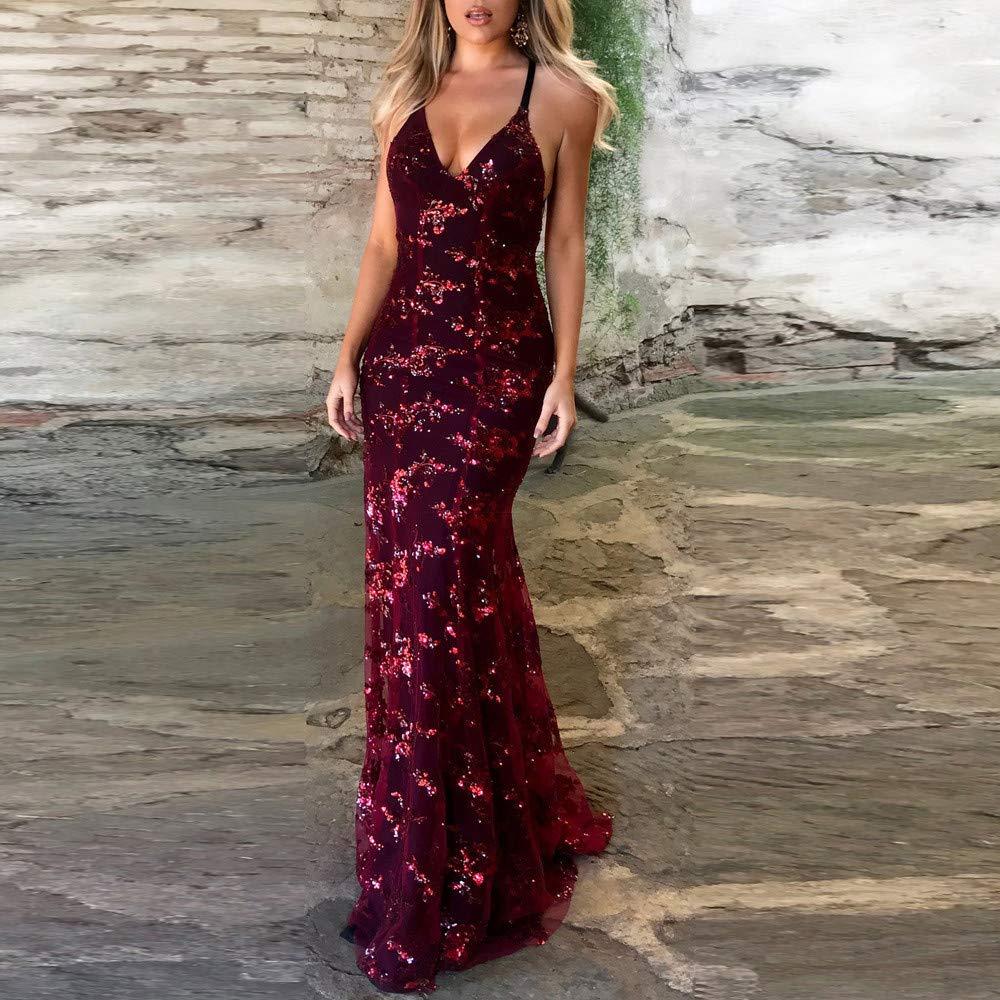 ESAILQ Damen Riemchen Verband /Ärmellos V-Ausschnitt Kleid Pailletten Cocktail Abendkleid Kleid