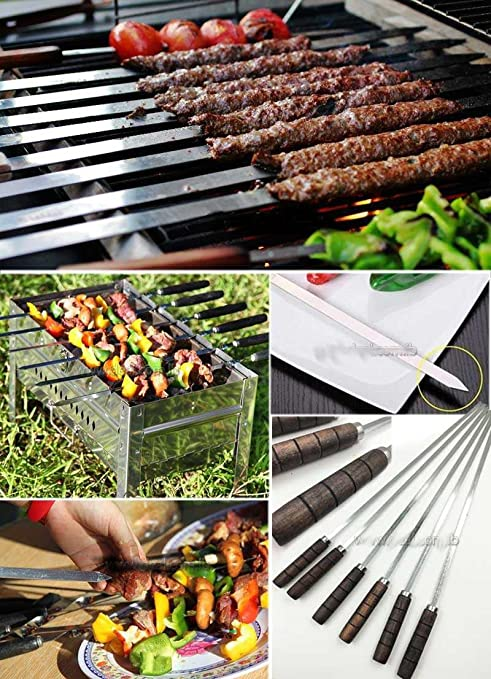 ALRIA Stainless Steel BBQ Barbecue Grill Skewers with Wooden Handle -Pack of 6