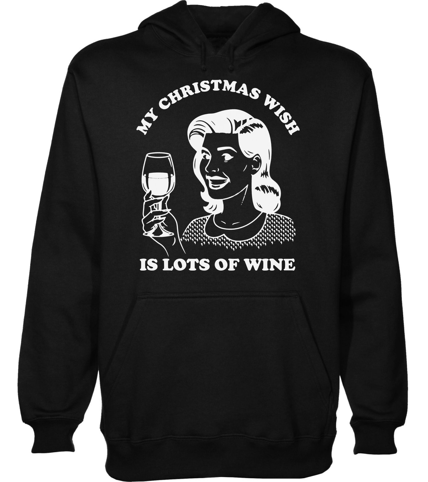 My Christmas Wish is Lots of Wine Vintage Woman with Glass of Wine Men's Hoodie Pullover Extra Large