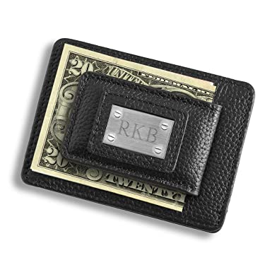 personalized studded leather money clip credit card holder black wallet - Money Clip Credit Card Holder