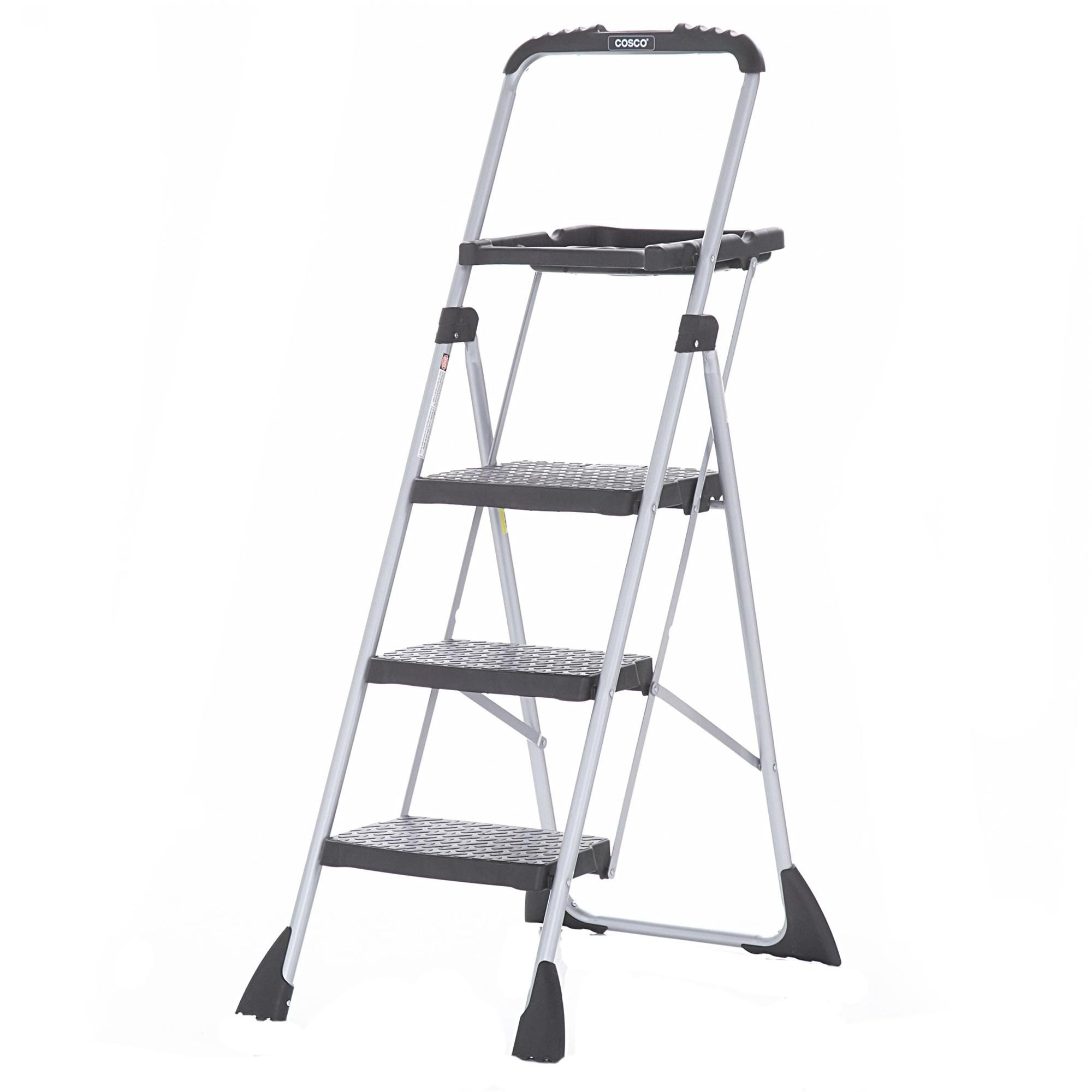 New Cosco Three Step Ladder Max Steel Work Platform Ebay