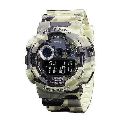 Sanda Reloj digital de camuflaje, sumergible 50 m, cuarzo, color beige