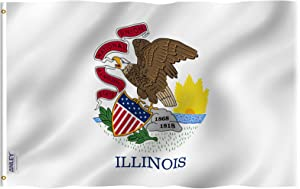 Anley Fly Breeze 3x5 Foot Illinois State Flag - Vivid Color and Fade Proof - Canvas Header and Double Stitched - Illinois IL Flags Polyester with Brass Grommets 3 X 5 Ft
