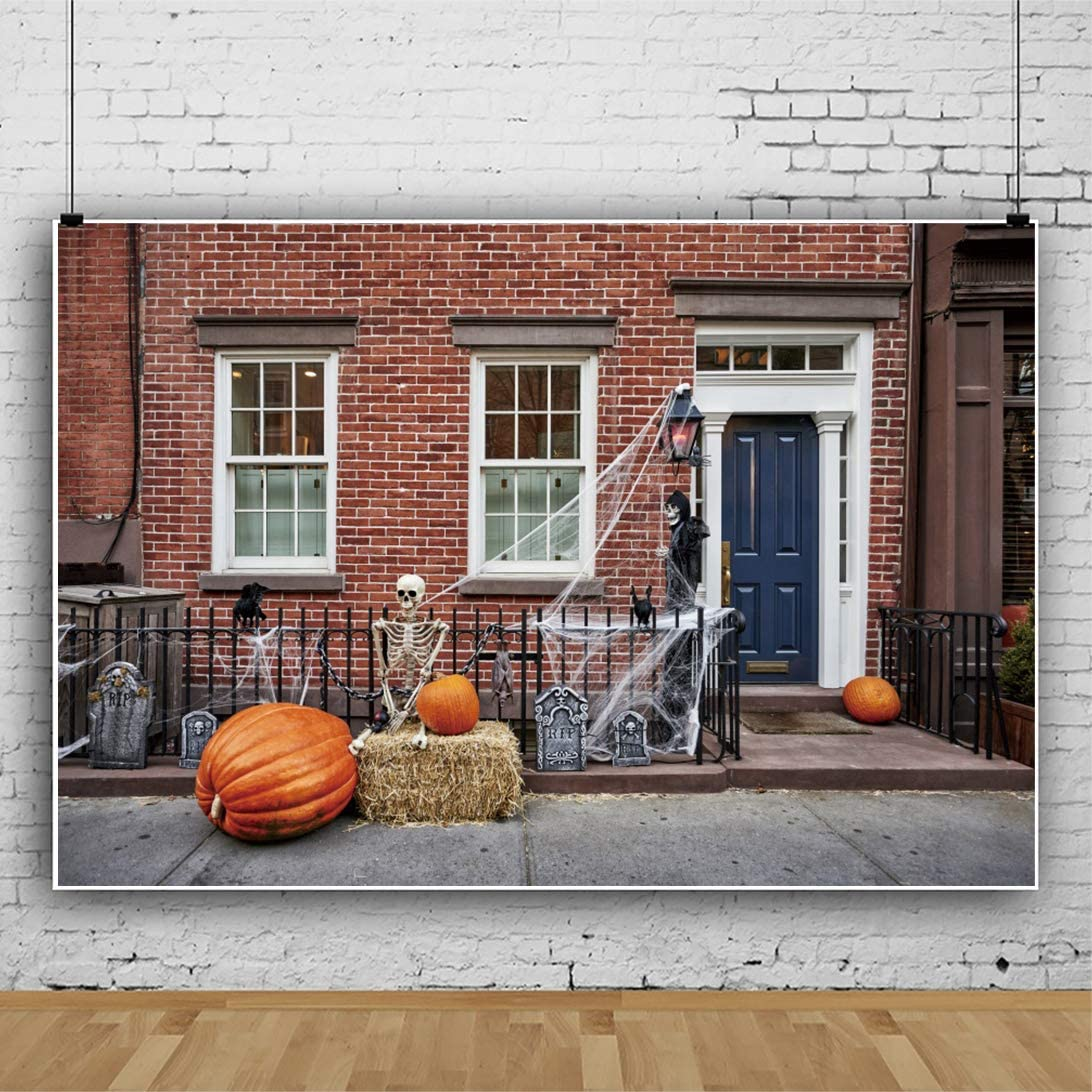 CSFOTO 10x8ft Halloween Backdrop Halloween Theme Background for Photography Skeleton Pumpink Hay Bale Red Brick House Spidernet Family Event Decor Child Baby Portrait Vinyl Wallpaper
