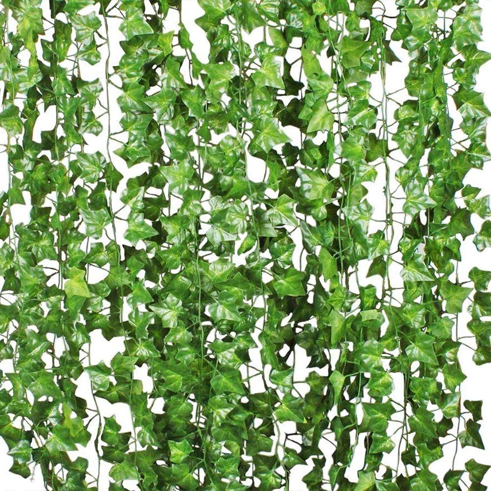 Amazon Com Benvo 12 Pack 84 Ft Fake Ivy Artificial Leaves Real Looking Greenery Hanging Garlands Vine Plants Life Like Foliage Leaf For Party Wedding Garden Kitchen Home Office Wall Stair Swing Decoration Home