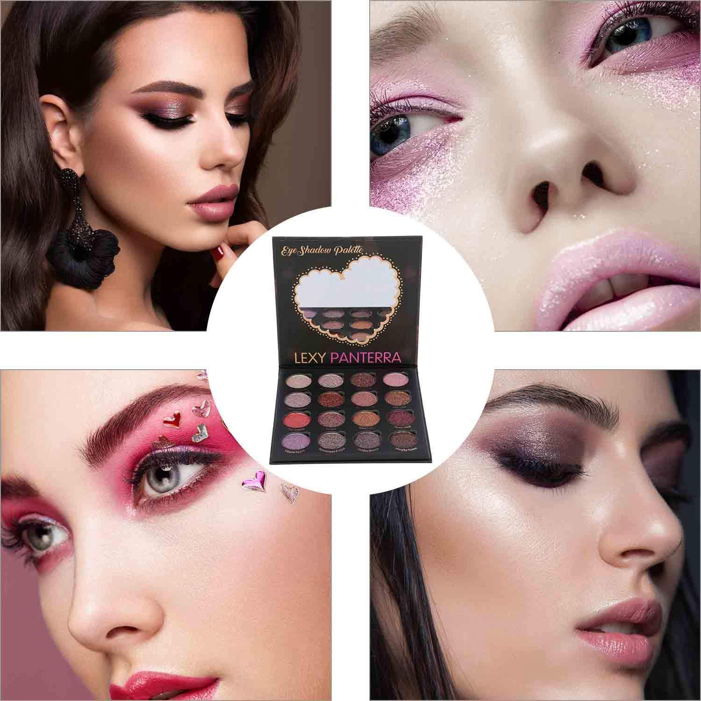 Kissfairy Pressed Glitter Eyeshadow Palette-Festival Version (16 Colors) Pigmented Shimmer Makeup Pallet Eye Shadows Cosmetic Set