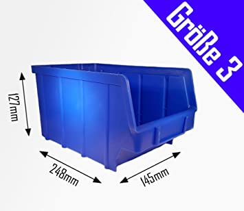 150 Stapelboxen Gr.3 Kunststoff PP blau Sichtlagerkästen Stapelkästen Lagerboxen