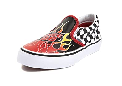 f58745d18e Vans Little Big Kids Slip On Race Flame Boys Skate Shoe (1 M US