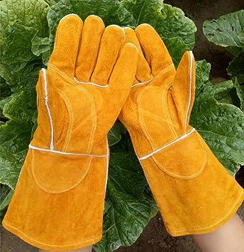 Guantes industriales resistentes al desgaste de cuero, guantes de soldador de aislamiento de alta temperatura