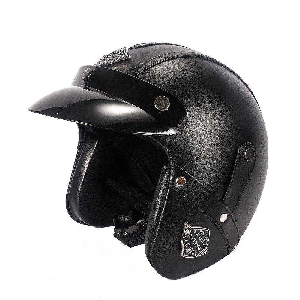 KKmoon Casque Retro Moto Bike Casque PU Cuir Casque de Moto Prot/égeant du Vent
