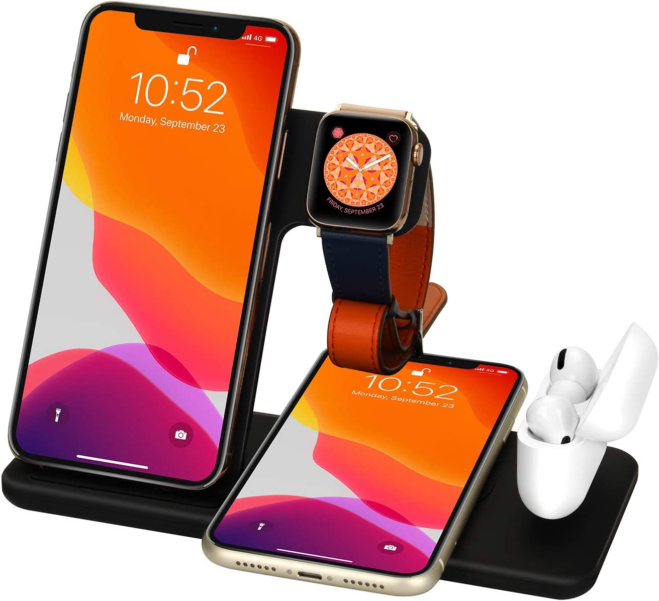 Wireless Charger 4 in 1 Charging Dock for Airpods Pro and Iwatch 5 Charging Station Fast Charging Stand for iPhone 11/11Pro/11 Pro Max/X/XS/XR/Xs Max 8/8 Plus,for Samsung S10/S9/S8//Note 10/9/8 Black