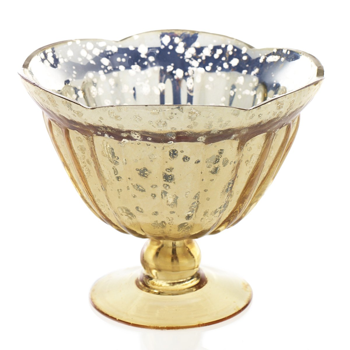 Mercury Glass Compote w/ Pedestal Base, 5.5 in. tall, Scalloped, Gold Accent Decor Inc.