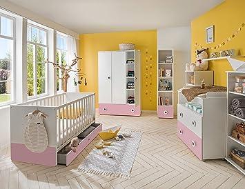 lifestyle4living Babyzimmer Komplett-Set in weiß und rosa ...