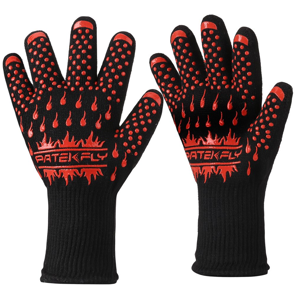 BBQ Gloves,Grill/Cooking Gloves,Pateklfy 100% Cotton Lining,Heat Resistant Gloves Withstand Heat Up To 932℉ for Oven Gloves/Oven Mitts and BBQ Mitts,Perfect for Baking,Barbecue(1 Pair) by Patekfly