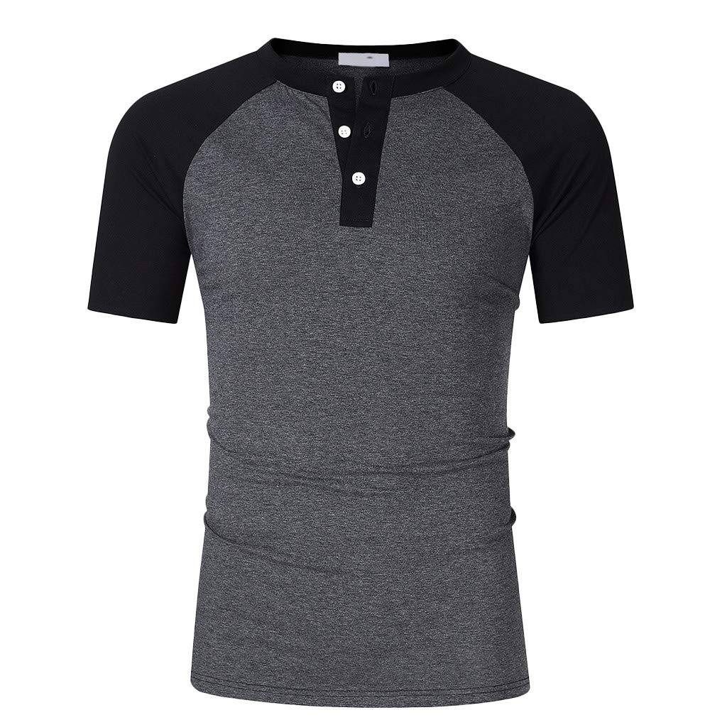 GREFER Fashion Personality Tee Shirt Men's Casual Slim Short Sleeve Tops Blouse Pure Color Dark Gray by GREFER