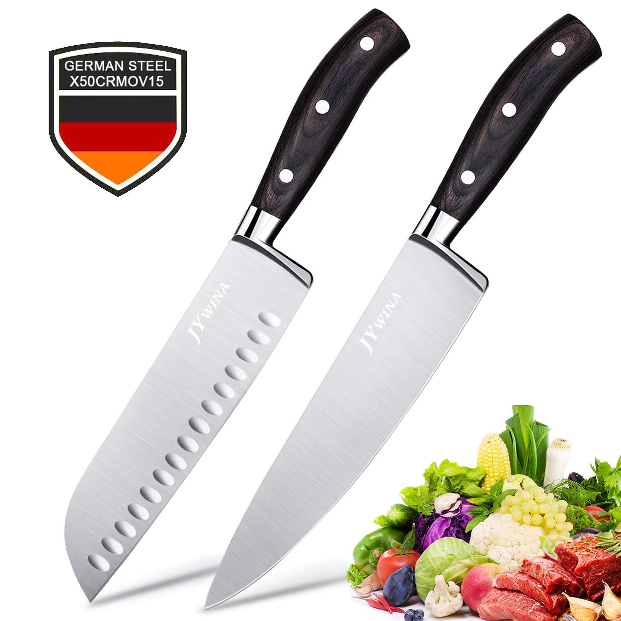 2-Piece Ultra Sharp Chef Knives, 8 inch Chef Knife & 7 inch Santoku Knife,Japanese Razor Sharp Blade Made of High Carbon Steel, Germany Stainless Steel, Ergonomic Handle for Vegetable, Fish and Meat by WOLLGORD