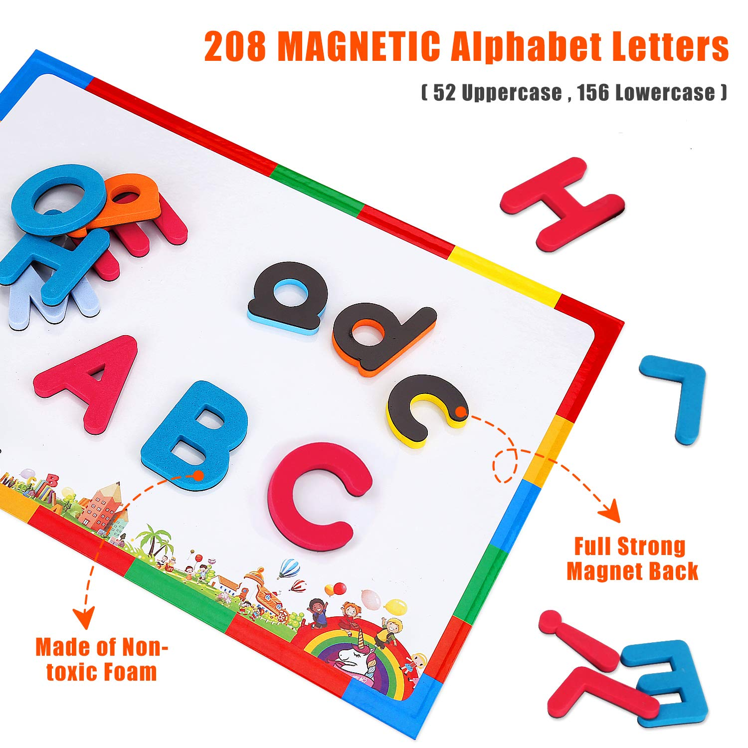 Learn Alphabet magnetic FRIDGE LETTERS PICTURE educational toy kids SPELL MATCH