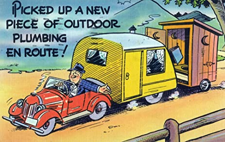 Amazon.com: Comical Cartoon - Man Towing a Trailer and an Outhouse ...