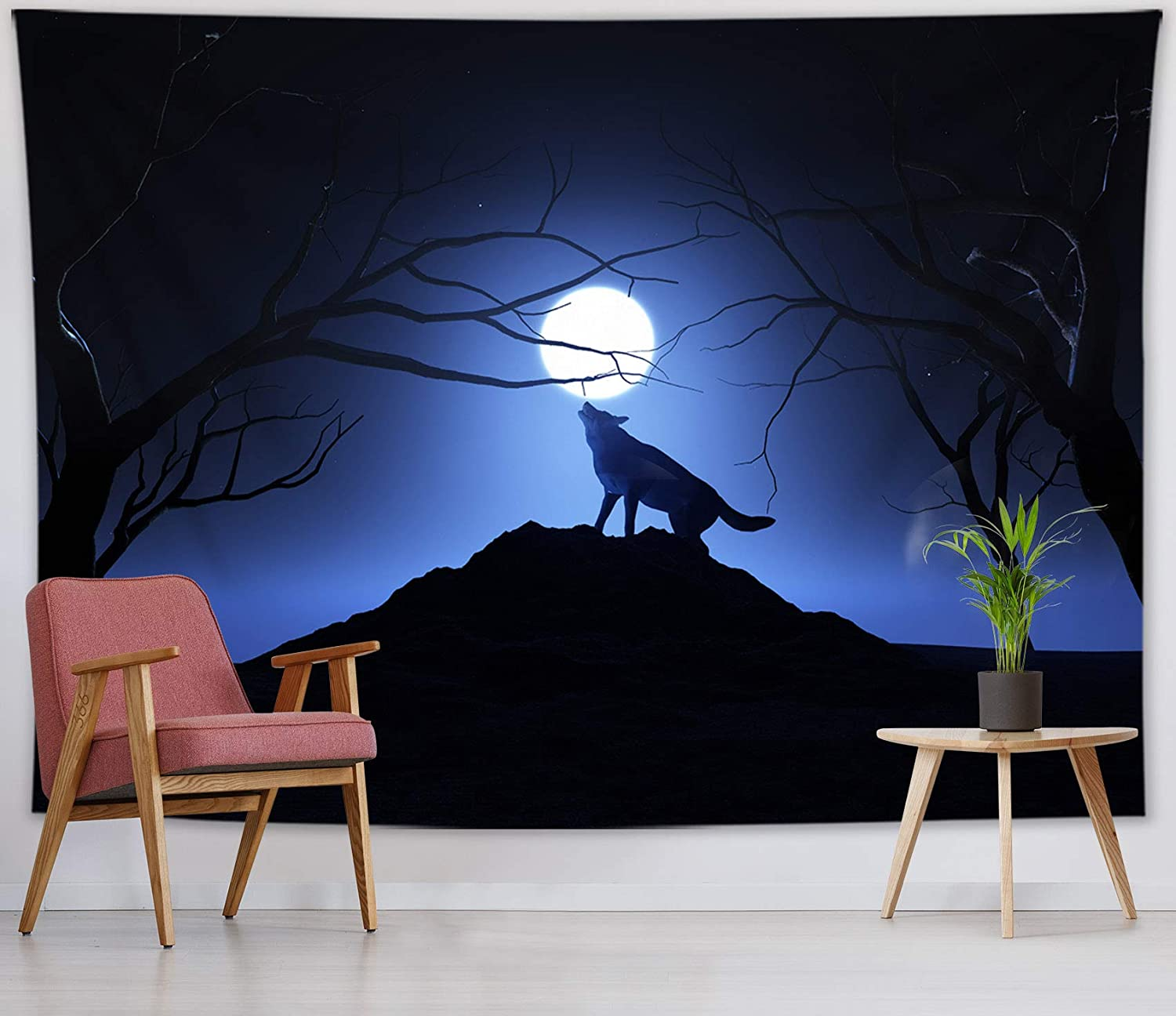 HVEST Wolf Tapestry Wild Predator Wolves Stand on The Mountains and Howl at The Moon Forest Night Tapestries Wall Hanging for Living Room Bedroom Teen Girls Dorm Indie Decor Poster,60x40 Inches