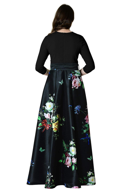 aa357d2d7b3c eShakti Women's Floral print dupioni and cotton knit maxi dress:  Amazon.co.uk: Clothing