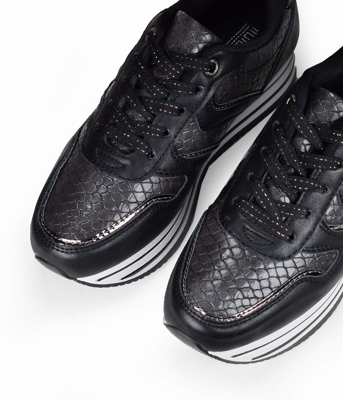 1e833583c Bosanova Zapatillas Deportivas/Bambas Casual Sneakers con Plataforma Rayada  Diseño y Textura Piel de Cocodrilo para Mujer, Negro, 36-41 EU: Amazon.es:  ...