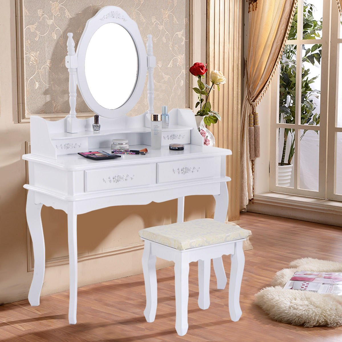 New White Vanity Jewelry Makeup Dressing Table Set W/Stool 4 Drawer Mirror Wood Desk by Furinho Bush
