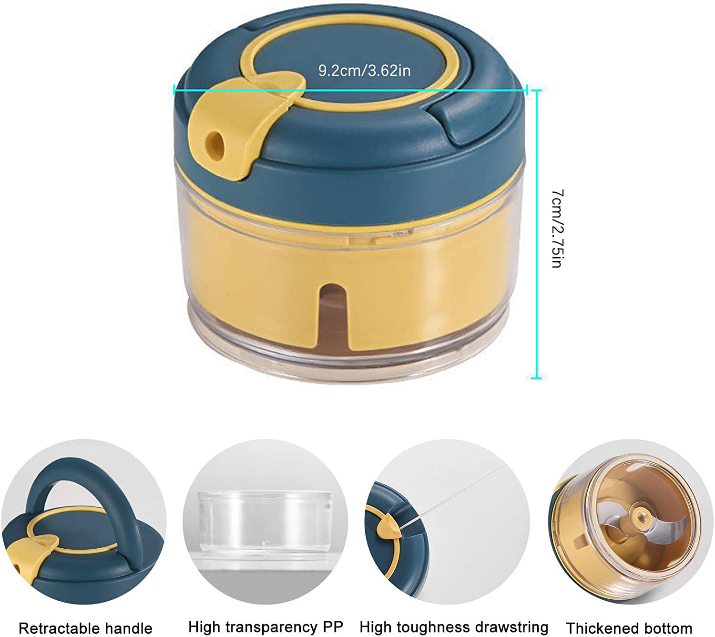 Picador de Cebolla con Cuerda Cortador de Vegetales Mini Batidora Mini Picadora Manual Cortador Manual Multifuncional para Mezclar y Picar Picador de Ajos Manual LxwSin Mini Picador y Cortador