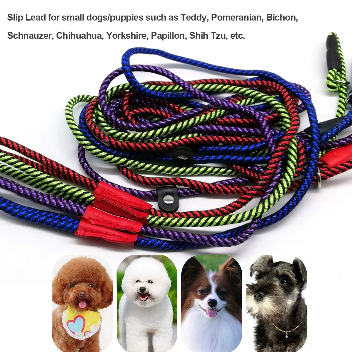 Green MayPaw Dog Leash Rope Slip Lead,1//4-5Ft Durable Nylon Puppy Lead Colorful Adjustable Training Pet Lead for Small and X-small Dogs