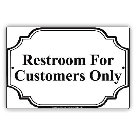 Amazon.com: Baño para clientes sólo señal Metal de aluminio ...