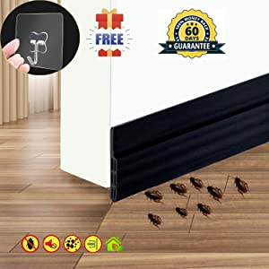 "Self Adhesive Door Sweep Draft Stopper - Camel Home Weather Stripping Rubber Under Door Bottom for Interior Doors Seal Strip Insulation for Weatherproof, Soundproof, 2"" W X 39"" L (2 Pack Black)"