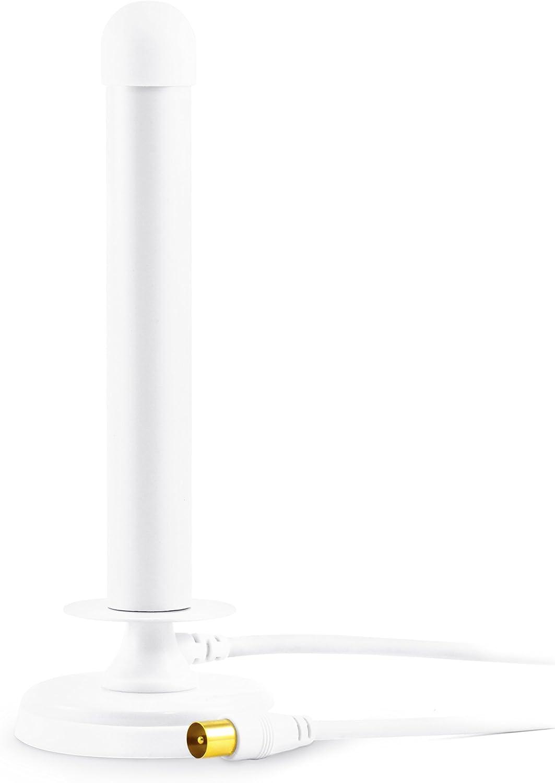 CSL - Antena TDT de Varilla Digital de 30 dB - TV PC Mac - Potente Antena DVB-T DVB-T2 con Base magnética Estable - Ganancia de 30 dB - Gran Potencia de recepción - Blanco