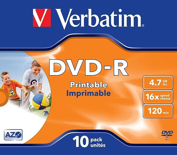 Verbatim 43521 4,7 GB 16 x DVD-R bedruckbar - 10er Pack: Amazon.de ...