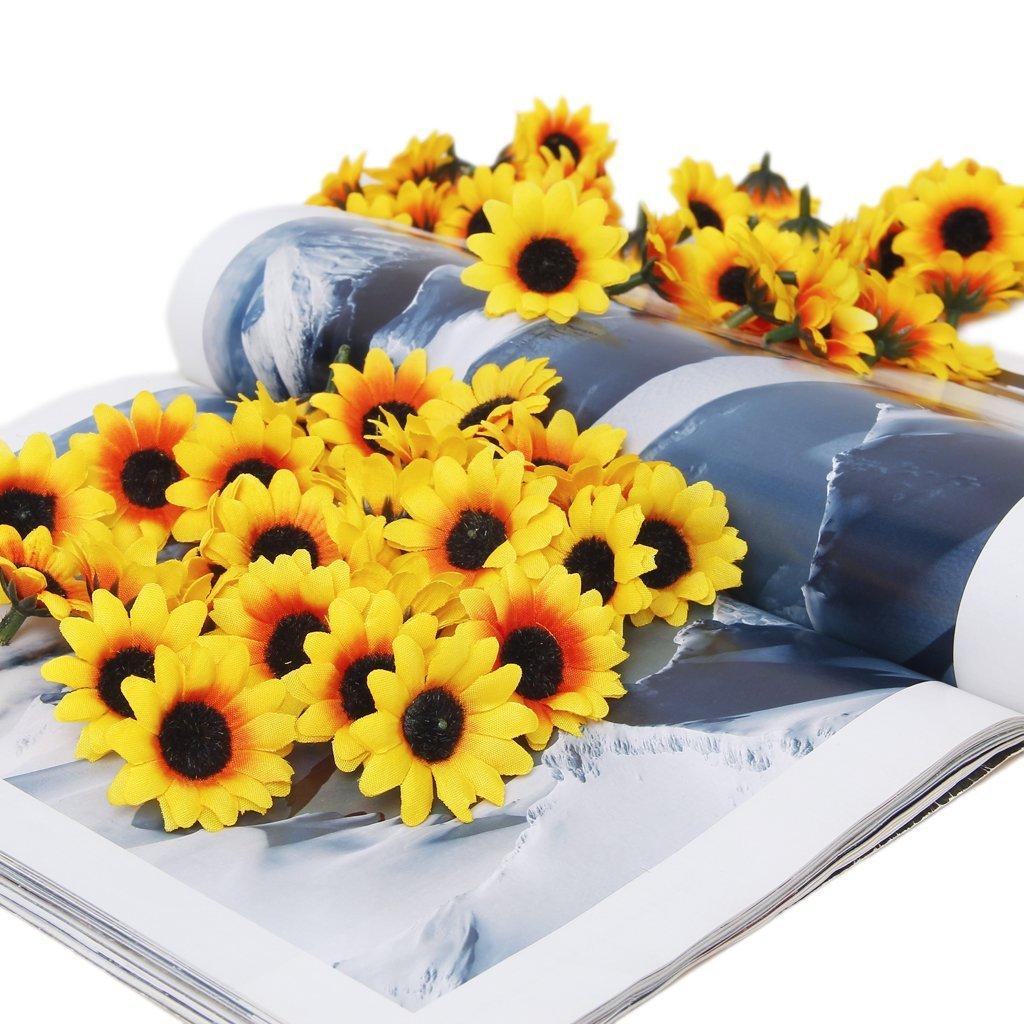 Sodialr Approx 100pcs Artificial Gerbera Daisy Flowers Heads For