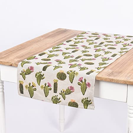 Schöner vida camino de mesa Cactus Natural Verde 40 x 160 cm ...
