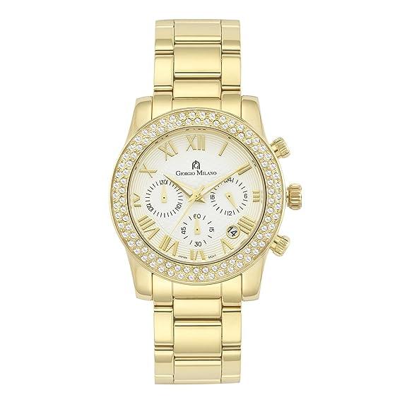 Giorgio Milano 1001sg02 acero inoxidable IP oro de la mujer cronógrafo con  fecha reloj de pulsera  Giorgio Milano  Amazon.es  Relojes e422bf49a3f2