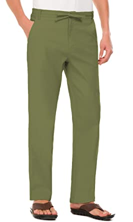 bdf58a00a3f2 Janmid Men s Drawstring Casual Beach Trousers Linen Summer Pants Army Green  S