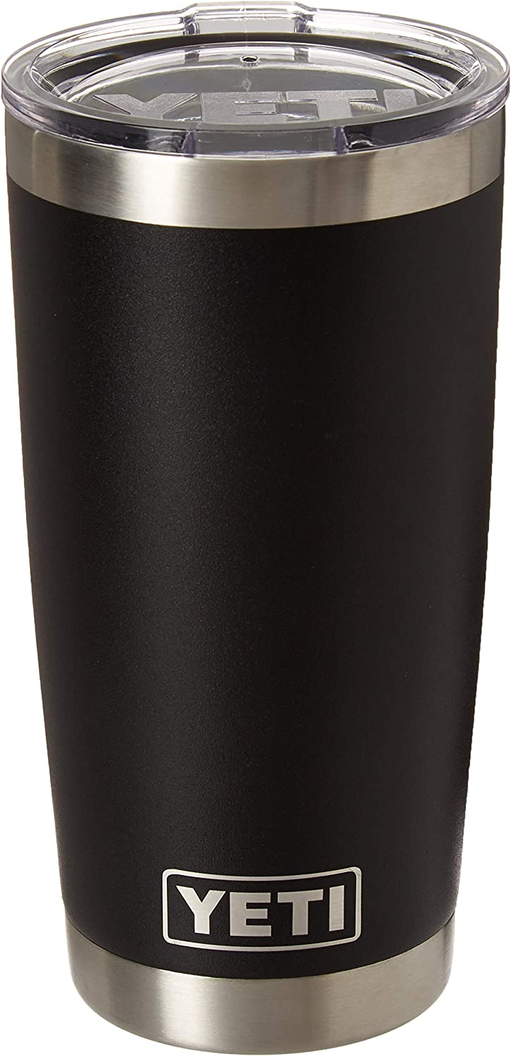 Amazon Com Yeti Rambler 20 Oz Stainless Steel Vacuum Insulated Tumbler With Lid Black Sports Outdoors