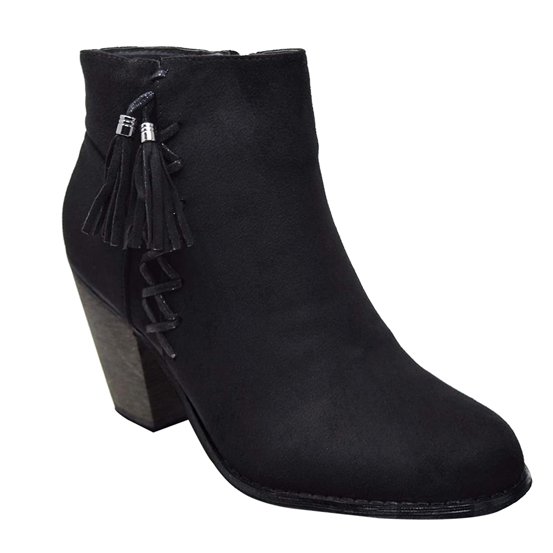 Xelay Damen Chelsea Stiefel Blockabsatz Knöchel Mit besetzt nieten besetzt Mit Reißverschluss Größe UK 3 - 8 schwarz Tassel fa7069