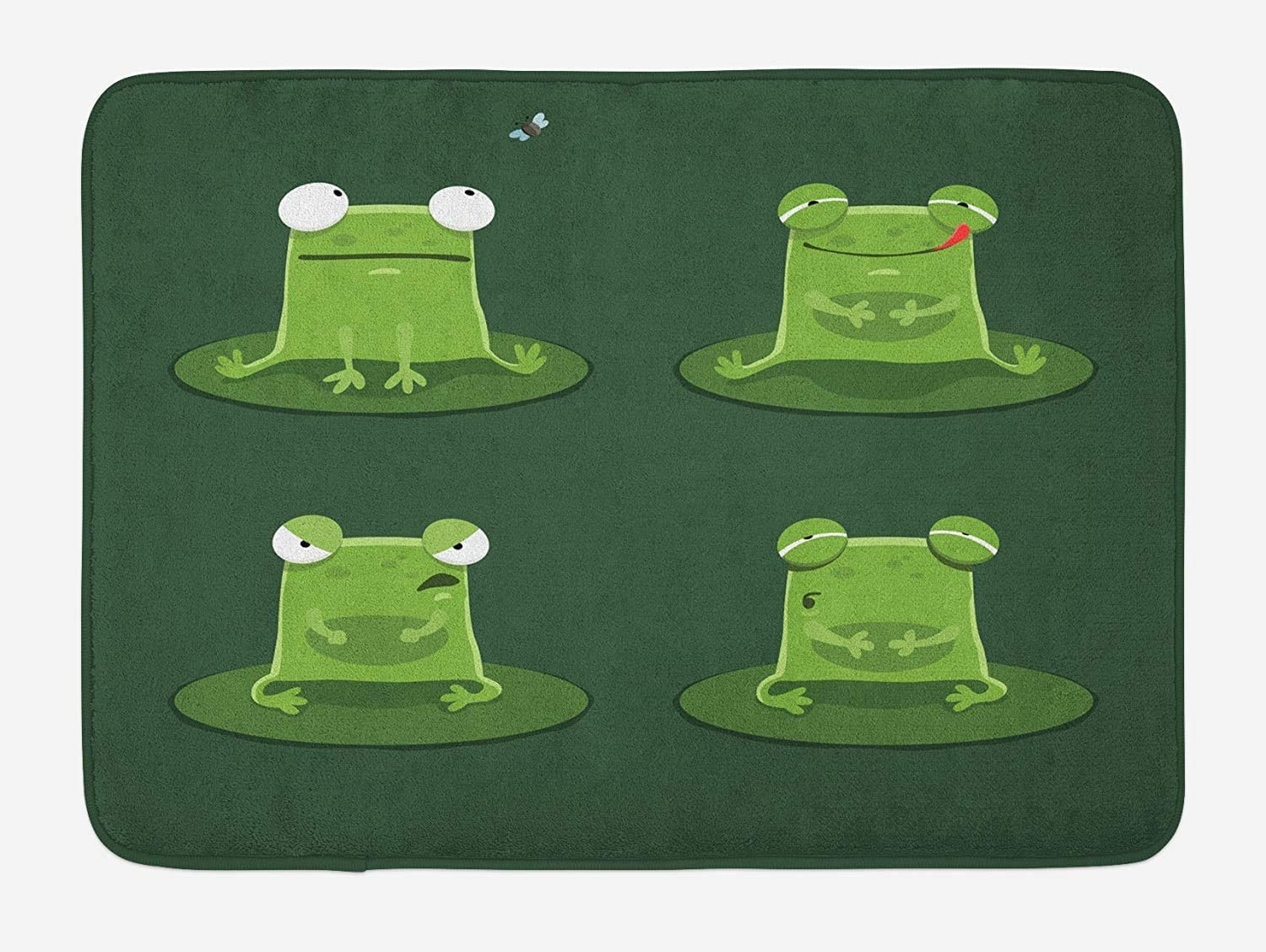 CdHBH Funny Bath Mat, Funny Muzzy Frog on Lily Pad in Pond Hunting Tasty Fly Expressions Cartoon Animal, Plush Bathroom Decor Mat with Non Slip Backing, 15.7