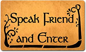 """Funny Welcome Mats Anti-Slip Door Mats for Entrance Way Indoor Mat / Rubber Mat / Personality Rugs Kitchen Rugs and Mats 18""""(W) x 30""""(L) (Speak Friend and Enter Lord of The Rings)"""