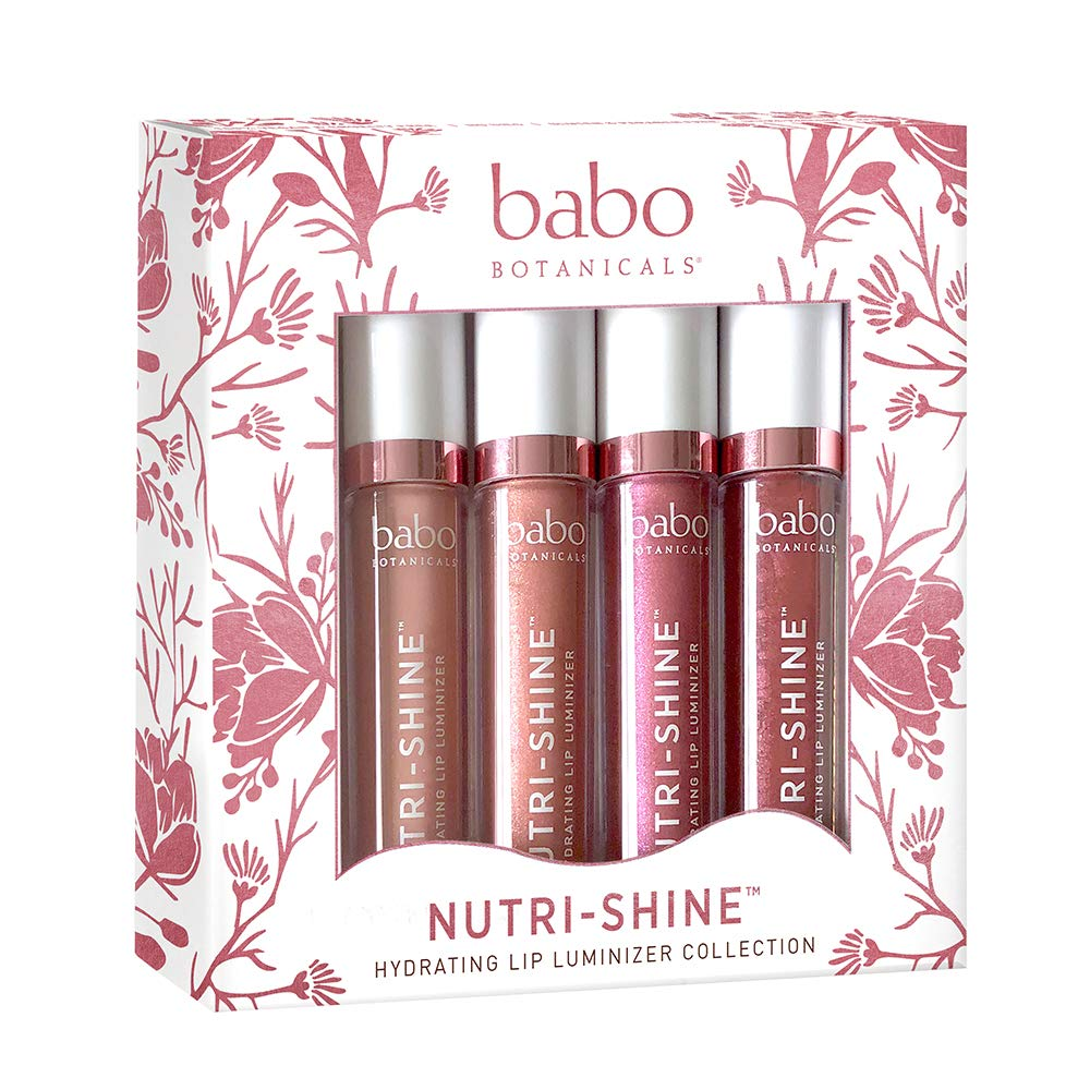 Babo Botanicals Nutri-Shine Luminizer Vegan Lip Gloss Gift Set, Natural Mint, 0.56 Ounce by Babo Botanicals